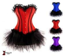 Corset Burlesque Boned Laced Basques Corsets Tutu Fancy Dress Sexy Costume Satin
