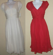 NWT Genuine SUZI CHIN for MAGGY BOUTIQUE tomato red/white cup sleeve dress, 4P