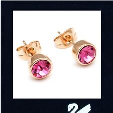 1 pair GENUINE SWAROVSKI 6mm Crystal Elements 18K GP Gold Filled Studs EARRINGS