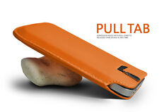 ORANGE PREMIUM LEATHER PULL TAB CASE COVER POUCH FOR VARIOUS HANDSETS