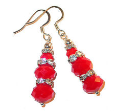 CRYSTAL Silver Prom Dangle Earrings BRIGHT RED