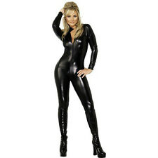 Adult Black Fever Sexy Miss Whiplash Whip Catsuit Cat Jumpsuit Halloween Costume