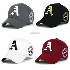 New Black Baseball cap hat letter A unisex Black hats mens baseball cap trucker