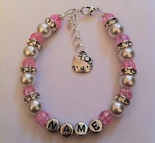 Personalised Girls Hello Kitty Bracelet Bridesmaid Flower Girl