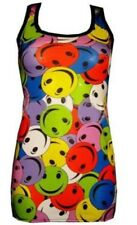 NEW MULTI SMILEY SMILE FACES PRINT LONG VEST TANK TOP GOTH PUNK EMO