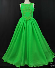 Girl National Pageant Wedding Formal Party Dress Green size 3 4 5 6 7 8 10 12 14
