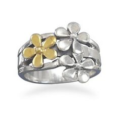 Two Tone Flower Ring 925 Sterling Silver Polished 14 Karat Gold Plated Triple