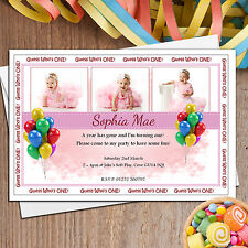 Personalised Girls 1st First Birthday Party PHOTO Invitations ~ N15