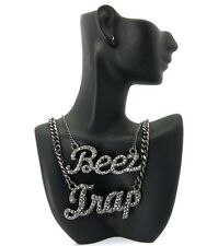 Nicki Minaj Inspired Iced Out BEEZ in the TRAP Pendant Necklace CHAIN SET Black
