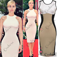 BNWT Optical Illusion Party Going Out Fitted Slimming Black Nude Midi Dress 8 10