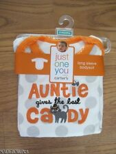 CARTER'S AUNTIE GIVES THE BEST CANDY HALLOWEEN L/S BODYSUIT~NB~3M~6M~NWT