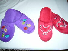 HOLIDAY PLUSH SLIPPERS - CHOOSE RED-CANDY CANES OR PURPLE-LIGHTS  (NEW)