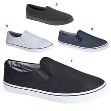 NEW MENS FLAT CANVAS TRAINERS PLIMSOLES PLIMSOLLS SHOE ESPADRILLE PUMP SIZE 7-12