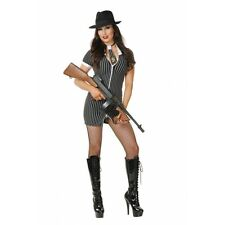 Gangster Moll Black White 20S Pinstripe Dress Up Halloween Sexy Adult Costume