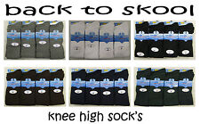 GIRLS 12 Pairs ONLY COTTON RICH KNEE HIGH SCHOOL SOCKS 6 COLS all sizes