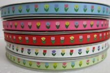 """3/8"""" 5 YARDS TULIP FLOWER FOR MOTHER'S DAY GROSGRAIN RIBBON - 5 COLORS U PICK"""