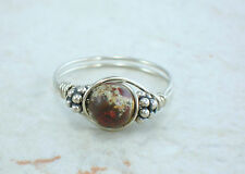 Sterling Silver Red Poppy Jasper and Bali Bead Ring