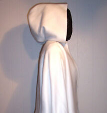 WHITE CAPE HOOD Fleece 32 inches long Finger Tip Womens Wedding Bridal Cloak