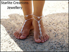 Beach bridal Swarovski AB or ABx2 Crystals BAREFOOT SANDALS with ANKLETS