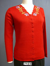 BROWNSTONE STUDIO NEW Ladies RED Button front Sweater with Embroidery!! WOW!!