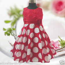 R3123 Reds Polka Dot Christmas Wedding Girls Party Dress SZ 2,3,4,5,6,7,8,9,10Y