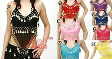 8 colors Hand Made Sexy Coins Bra Top Belly Dance Dancing Bra Top Dco Gold Coins
