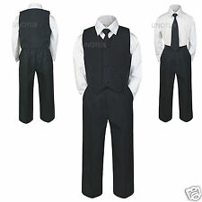 New Baby Toddler & Boy Wedding Easter Formal Party Vest Suit BLACK S M L XL-6 7