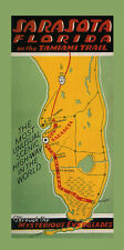 Sarasota Florida Map Tamiami Trail Scenic High-Way Vintage Poster Repo FREE S/H