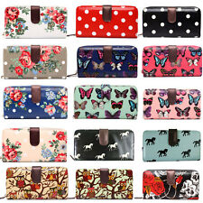 Designer Oilcloth Zipper Purse Folded Wallet Leather Coin Clutch Long Hand Bag