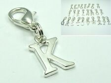 Silver Plated Initial Alphabet w/Lobster Clip On CHARM fits Chain Bracelet ~A-Z