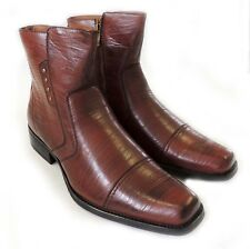 NEW MENS VINTAGE DRESS ANKLE BOOTS WESTERN COWBOY ZIPPERED LEATHER LINED / BROWN
