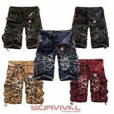 NEW MENS ARMY MILITARY CARGO SHORTS 100% COTTON PANTS SIZE 30 32 34 36 38 40