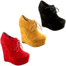 WOMENS EXTRA HIGH WEDGE HEEL PLATFORM SUEDE LACE UP ANKLE SHOE BOOTS LADIES 3-8