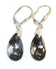 16mm Pear SILVER NIGHT Black Crystal Earrings Dangle Sterling Swarovski Elements