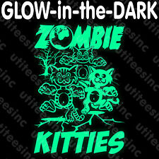 Zombie Kitties GLOW-in-the-DARK T-SHIRT Funny Scary Halloween Party Tee S-5XL