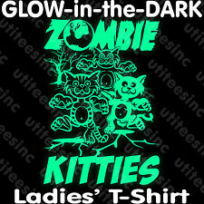 Ladies GLOW-in-the-DARK Zombie Kitties Cat T-SHIRT Halloween Party Tee XS-3XL