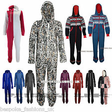 NEW LADIES PLAIN ONE PIECE HOODED WOMENS ALL IN ONE ZIP FRONT ONESIE JUMPSUIT