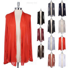 Light Weight Thin Plain Shawl Collar Long Sleeve Open Draped Cardigan Pockets