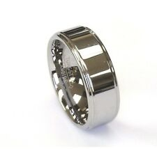 8Mm Tungsten Carbide Silver Polish Stepped Edge Mens Wedding Band Ring All Sizes