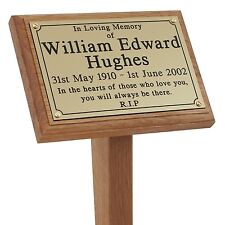 """18"""" Wooden Grave Cremation Marker Engraved Memorial Plaque Wood Ground Stake Pet"""