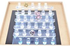"10"" Hard Jewelry Necklace Chain Pendant Display Stand Holder 6 Hook Easels Liner"