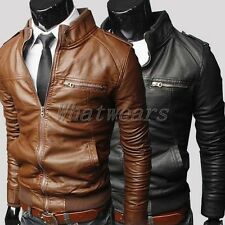 SHO Mens High Collar Slim Zip PU Leather Motorcycle Jacket Coat 4Size J52