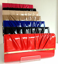 NEW PATENT RED BLACK BLUE NUDE NAVY FUCHSIA PINK BLUSH ORANGE EVENING CLUTCH BAG