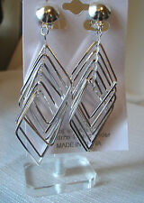 CLIP-ON DANGLE EARRINGS TRIANGLES SILVER OR GOLDTONE 4 IN DROP