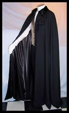 Phantom of the Opera BEADED Velvet Collar Floor Length Cape Cloak Black Handmade