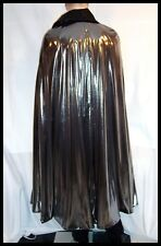 PHANTOM Of The PARADISE Liquid Silver Lame Black CAPE Men's Floor Length S to XL