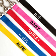 Dog lead and collar set personalised 3 sizes 5 colours