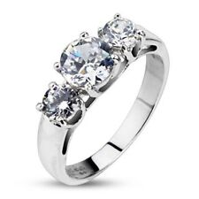 Personalized Stainless Steel Clear Round CZ Triple Pron Ring - Free Engraving