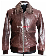 Jones Brown Mens Removable Fur Collar Pilot Bomber Winter Cowhide Leather Jacket
