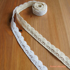 2 yards / 10 yards : 22mm Cotton Cluny Lace Trim Fan Pattern 2-color